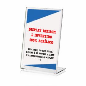 Display de Mesa Acrílico | A6 | L Invertido | 4/0 PVC Transparente 300g/m² 10x15 4x0