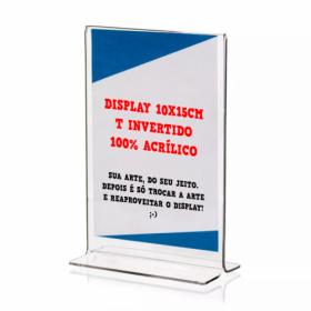 Display de Mesa Acrílico | A6 | T Invertido | 4/4 PVC Transparente 300g/m² 10x15 4x0
