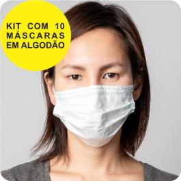 Máscara de Tecido Sem Impressão | Kit com 10 Unid. Algodão 19x17 cm 4x0 cores